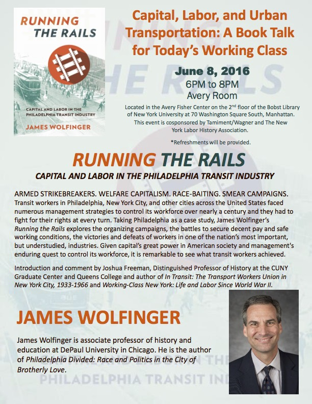 Running the Rails (Book Talk for NYLHA and Tamiment)